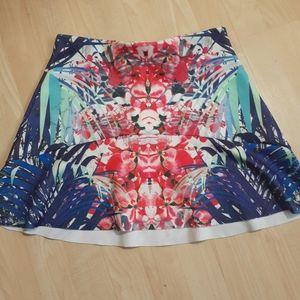 Aqua Swim Skirt Cover Up Medium Floral Pink Blue